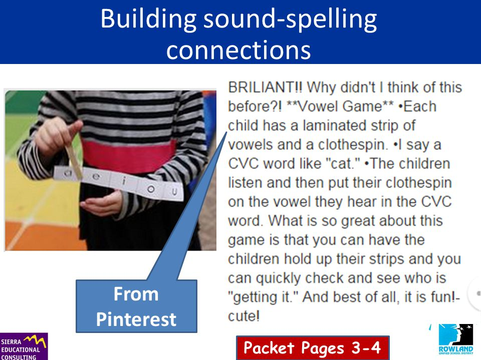 Building sound-spelling connections From Pinterest Packet Pages 3-4
