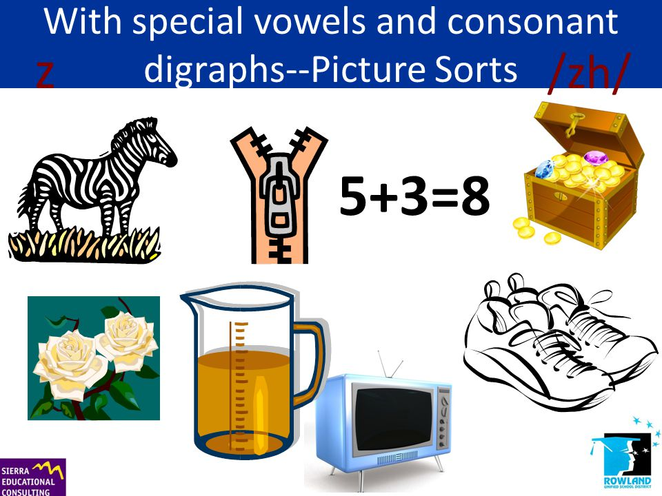 With special vowels and consonant digraphs--Picture Sorts 5+3=8 z /zh/
