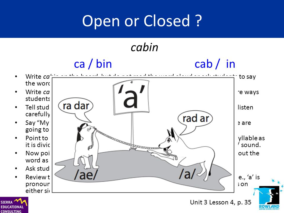Open or Closed ? Write cabin on the board, but do not read the word aloud or ask students to say the word at this time. Write ca | bin and cab | in un