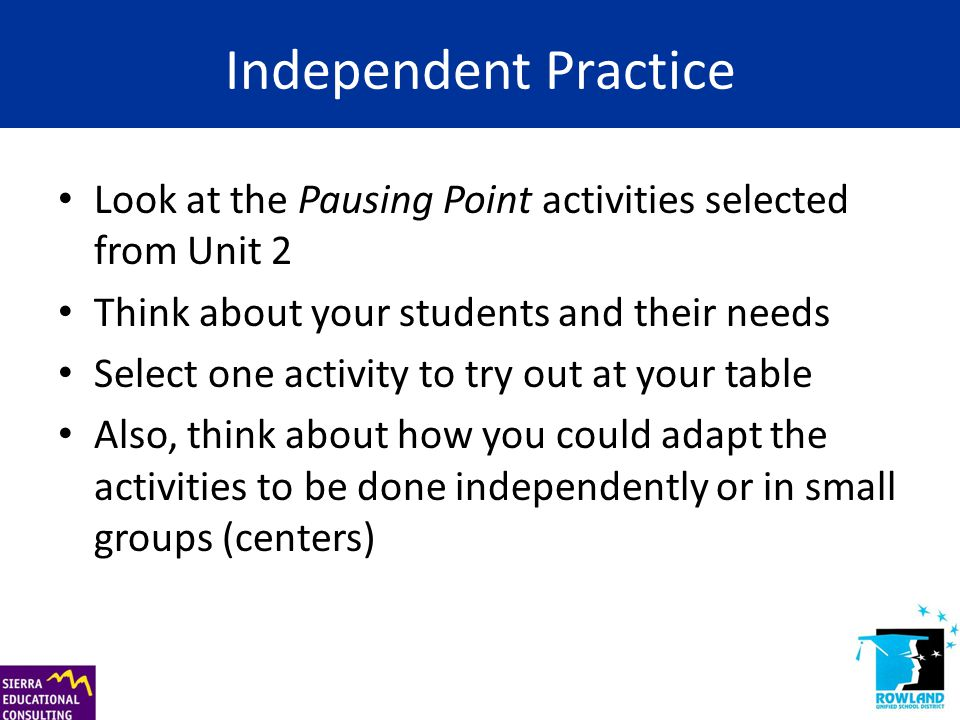 Independent Practice Look at the Pausing Point activities selected from Unit 2 Think about your students and their needs Select one activity to try ou