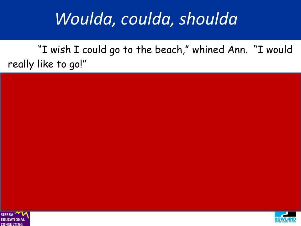 "Woulda, coulda, shoulda ""I wish I could go to the beach,"" whined Ann. ""I would really like to go!"" ""If you want to go,"" said Mom, ""you should stop whi"
