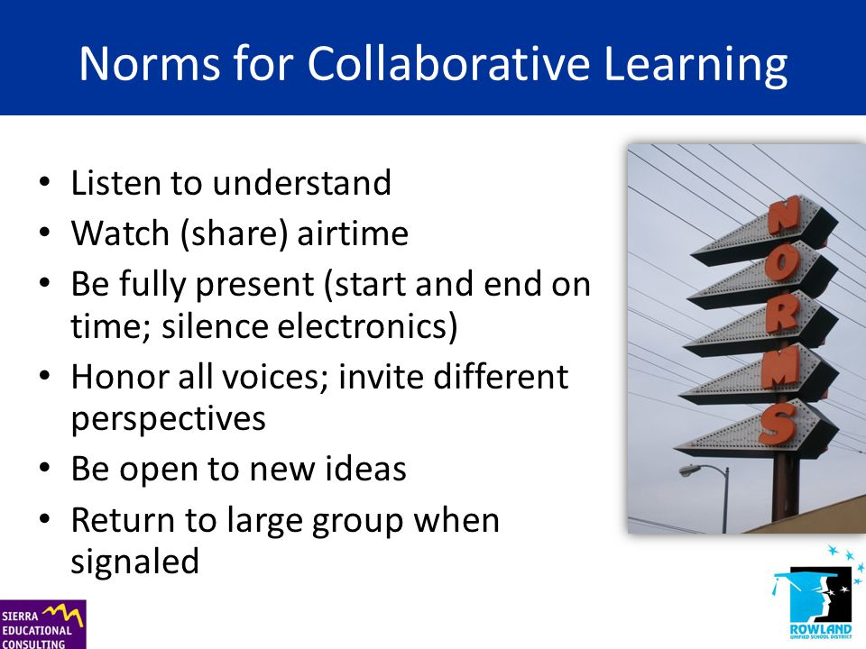 Norms for Collaborative Learning Listen to understand Watch (share) airtime Be fully present (start and end on time; silence electronics) Honor all vo