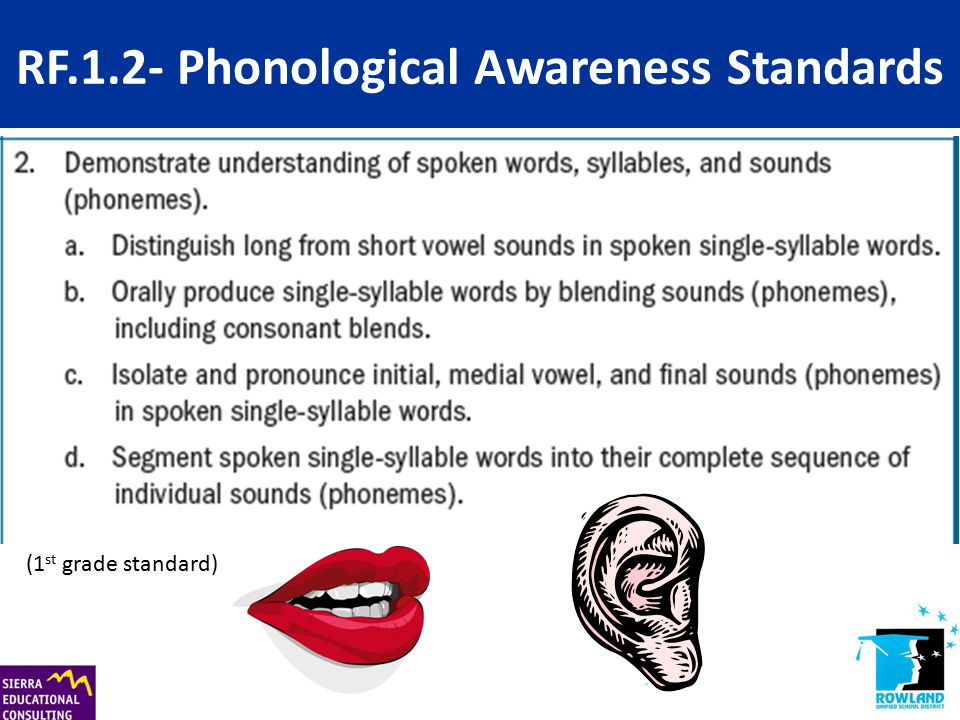 RF.1.2- Phonological Awareness Standards (1 st grade standard)