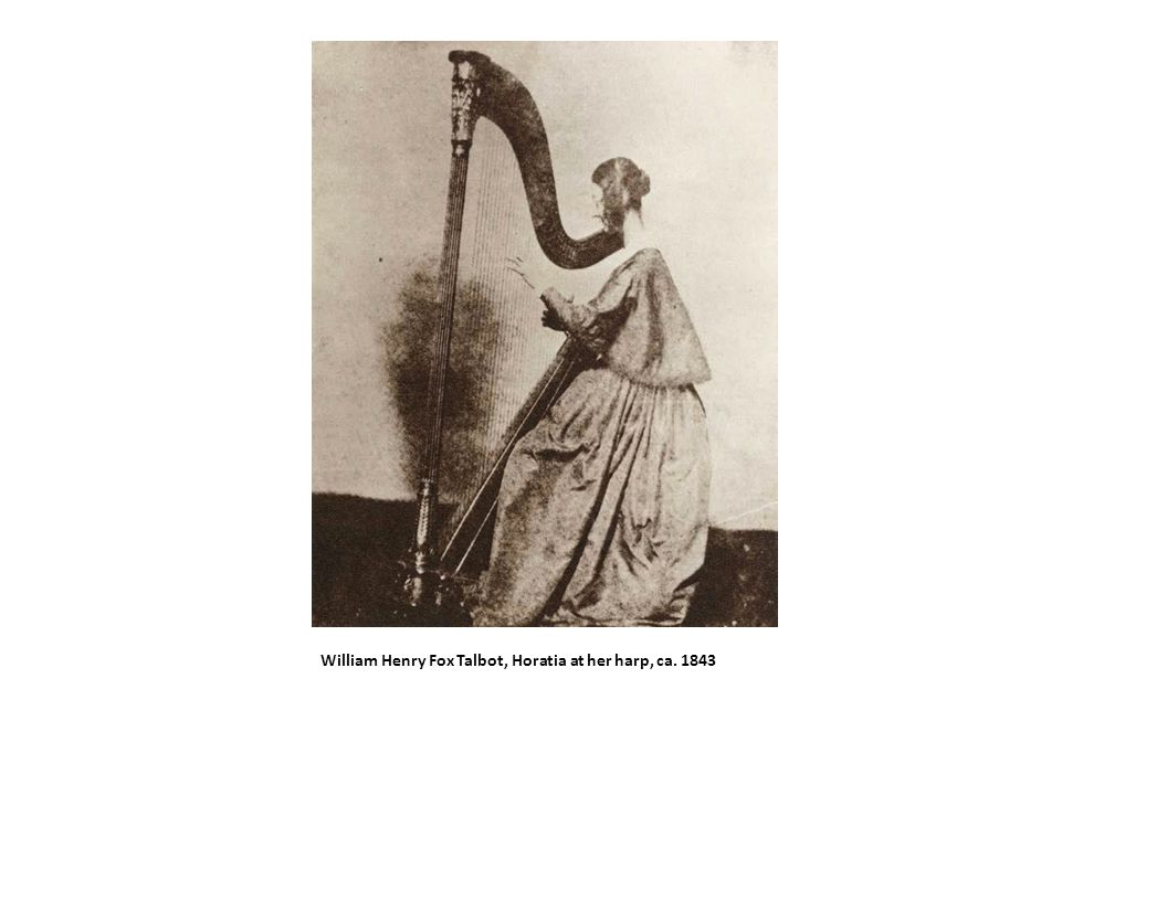 William Henry Fox Talbot, Horatia at her harp, ca. 1843