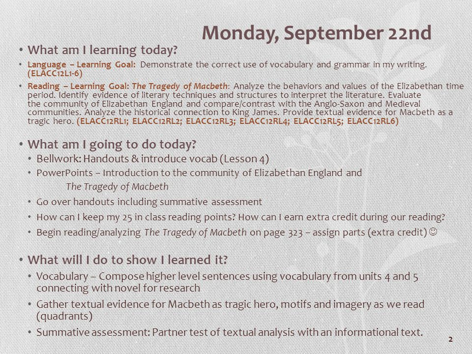 2 Monday, September 22nd What am I learning today.