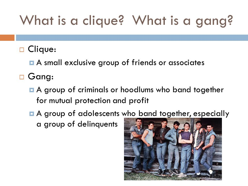 What is a clique? What is a gang?  Clique:  A small exclusive group of friends or associates  Gang:  A group of criminals or hoodlums who band tog