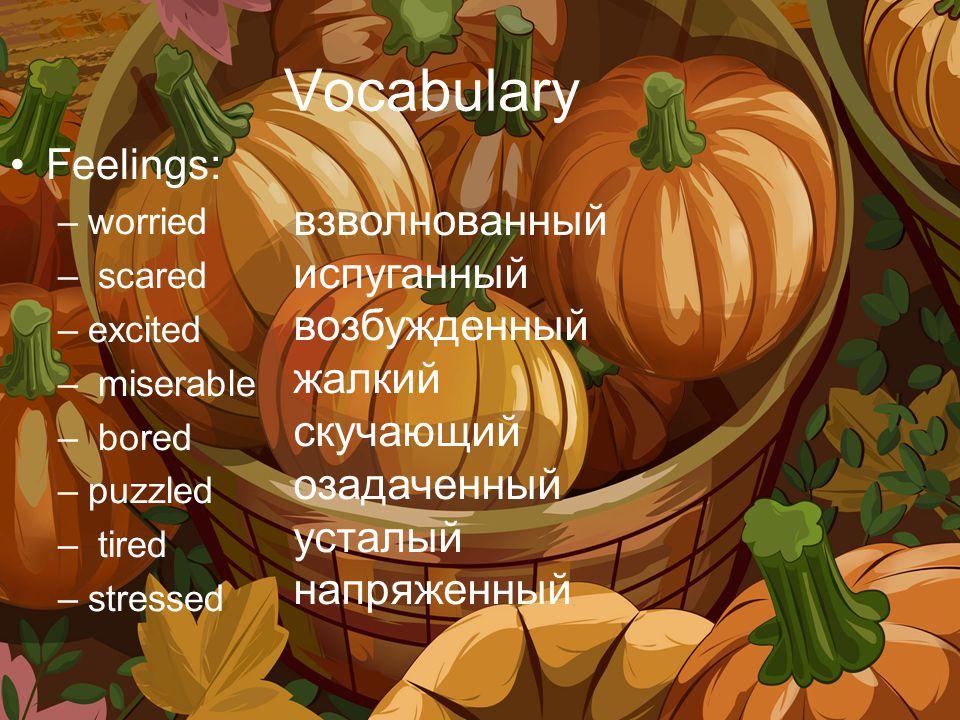 Vocabulary Feelings: –worried – scared –excited – miserable – bored –puzzled – tired –stressed взволнованный испуганный возбужденный жалкий скучающий озадаченный усталый напряженный