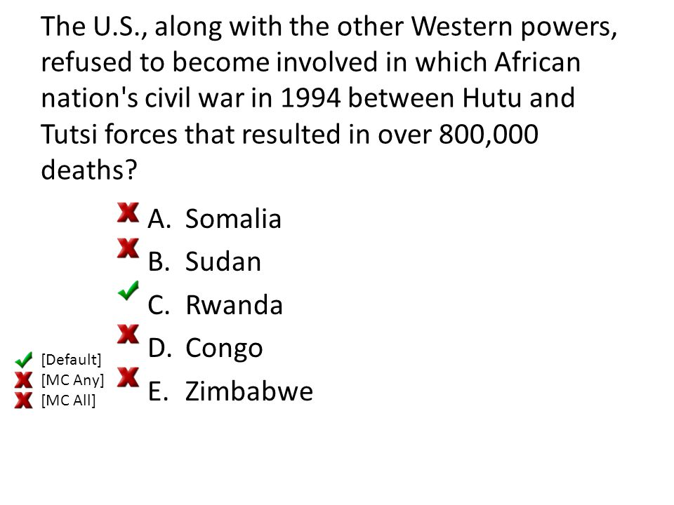 The U.S., along with the other Western powers, refused to become involved in which African nation's civil war in 1994 between Hutu and Tutsi forces th