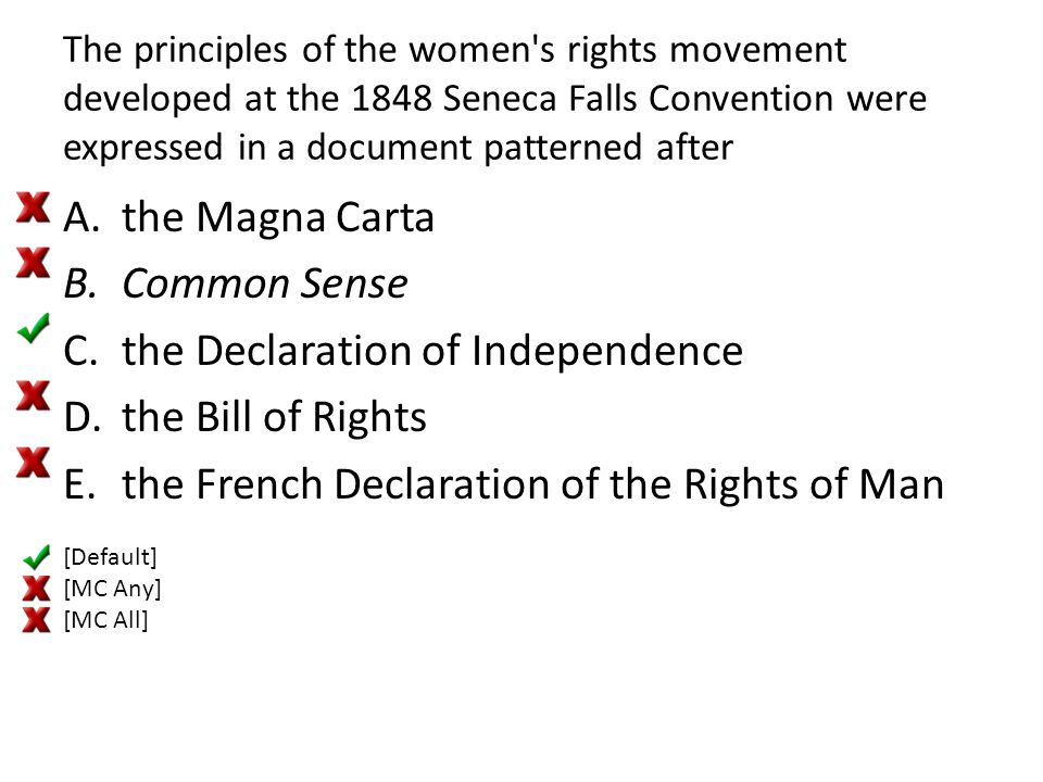 The principles of the women's rights movement developed at the 1848 Seneca Falls Convention were expressed in a document patterned after A.the Magna C