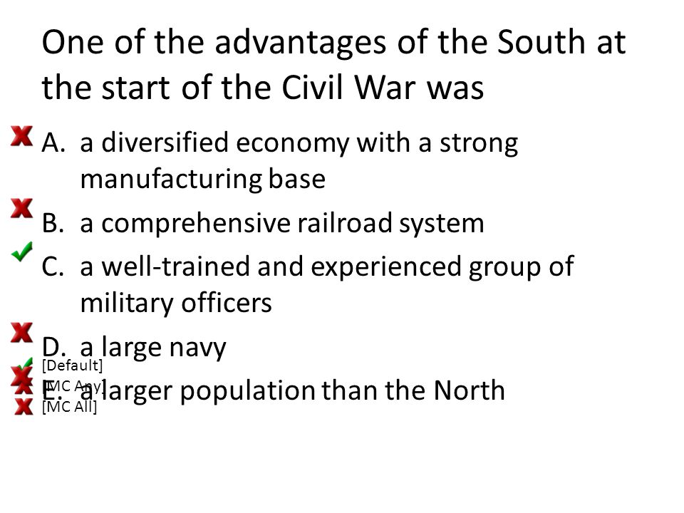 One of the advantages of the South at the start of the Civil War was A.a diversified economy with a strong manufacturing base B.a comprehensive railro