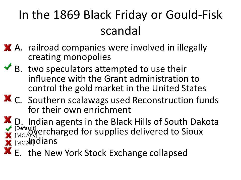 In the 1869 Black Friday or Gould-Fisk scandal A.railroad companies were involved in illegally creating monopolies B.two speculators attempted to use