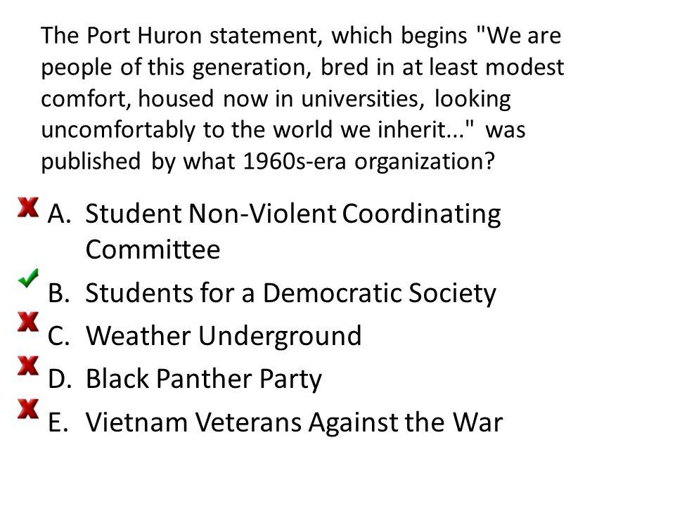 The Port Huron statement, which begins