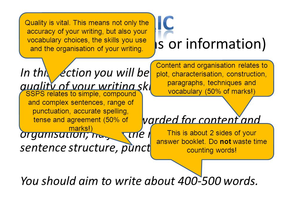 (italicised instructions or information) In this section you will be assessed for the quality of your writing skills.