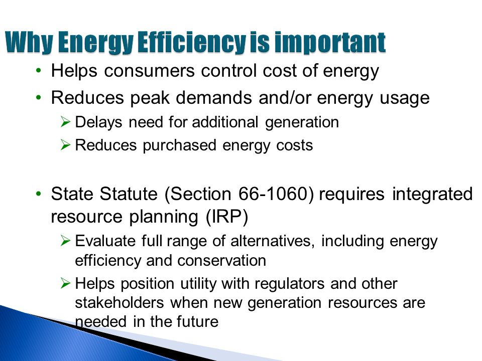 Why Energy Efficiency is important Helps consumers control cost of energy Reduces peak demands and/or energy usage  Delays need for additional generation  Reduces purchased energy costs State Statute (Section 66-1060) requires integrated resource planning (IRP)  Evaluate full range of alternatives, including energy efficiency and conservation  Helps position utility with regulators and other stakeholders when new generation resources are needed in the future