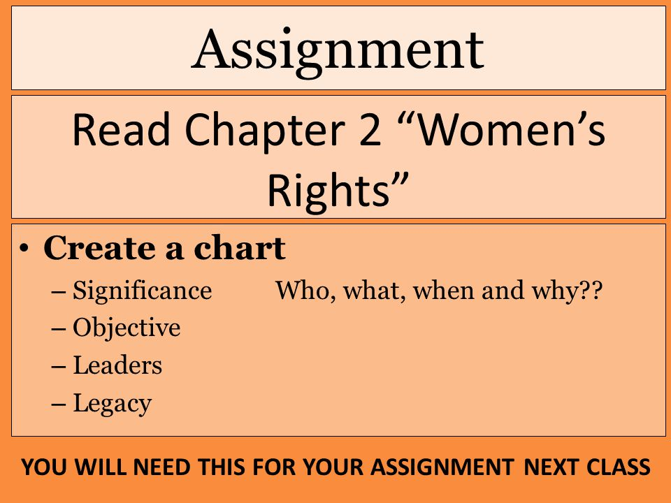 "Assignment Read Chapter 2 ""Women's Rights"" Create a chart – Significance Who, what, when and why?? – Objective – Leaders – Legacy YOU WILL NEED THIS F"