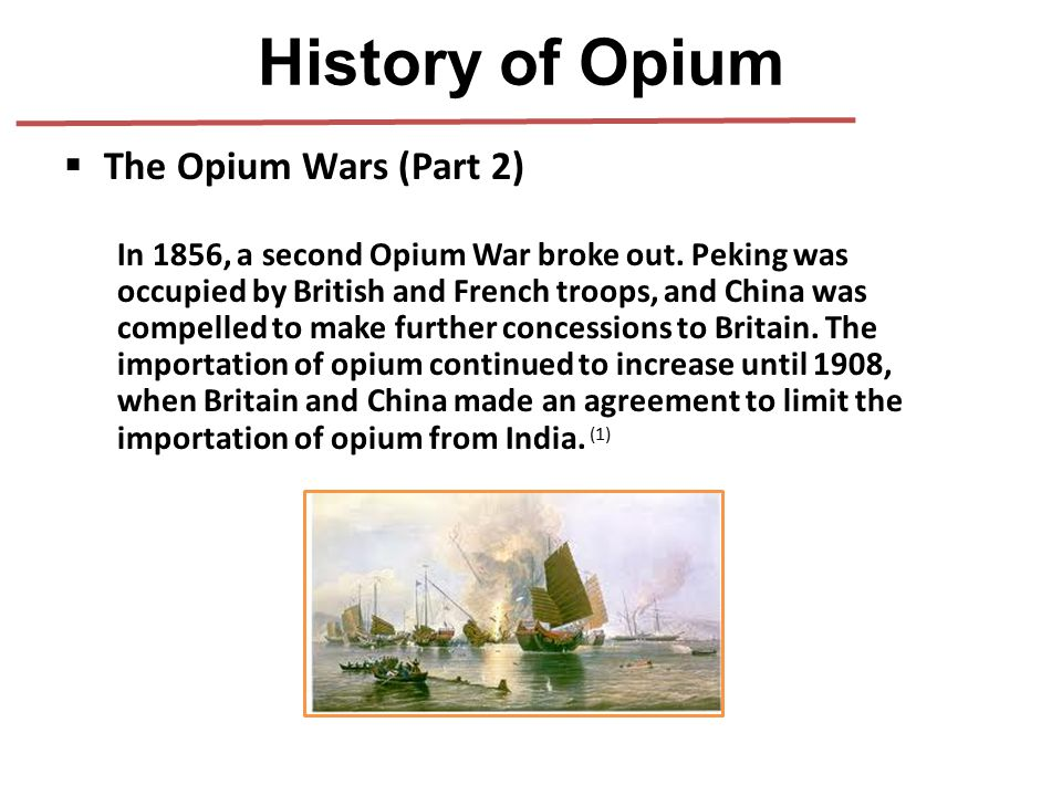  The Opium Wars (Part 2) In 1856, a second Opium War broke out. Peking was occupied by British and French troops, and China was compelled to make fur