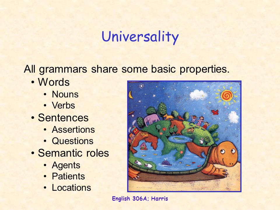 English 306A; Harris Universality All grammars share some basic properties. Words Nouns Verbs Sentences Assertions Questions Semantic roles Agents Pat