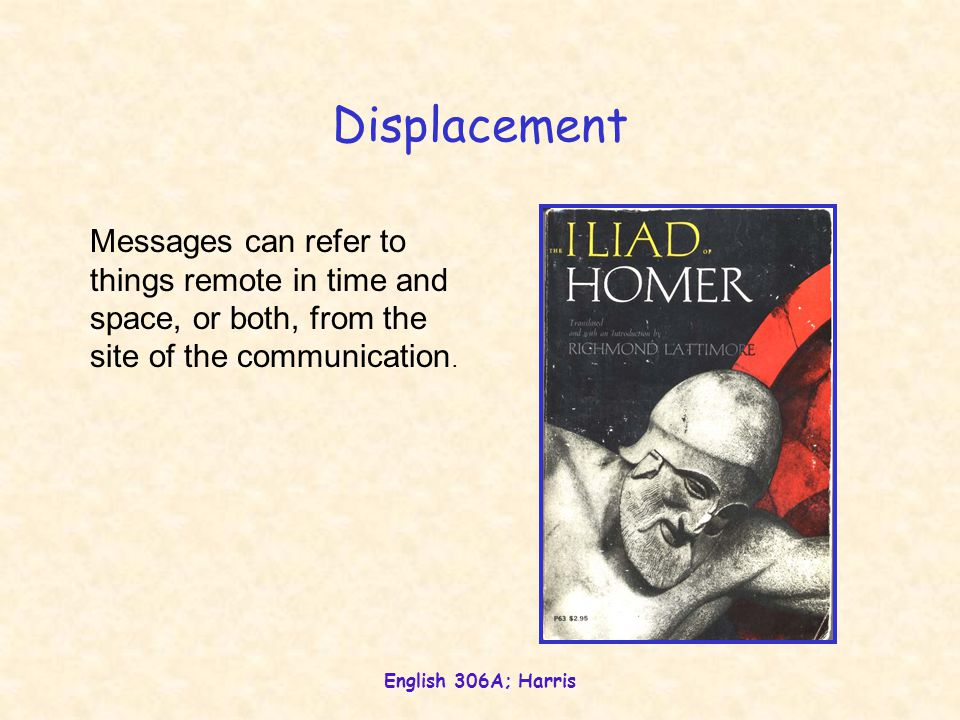 English 306A; Harris Displacement Messages can refer to things remote in time and space, or both, from the site of the communication.