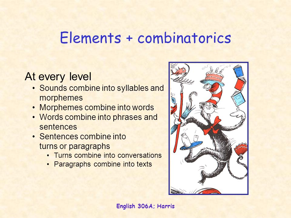 English 306A; Harris Elements + combinatorics At every level Sounds combine into syllables and morphemes Morphemes combine into words Words combine in