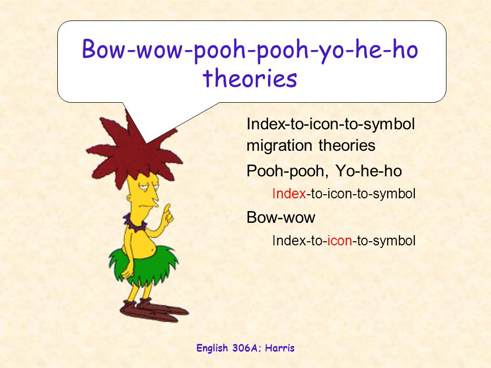 English 306A; Harris Index-to-icon-to-symbol migration theories Pooh-pooh, Yo-he-ho Index-to-icon-to-symbol Bow-wow Index-to-icon-to-symbol Bow-wow-po