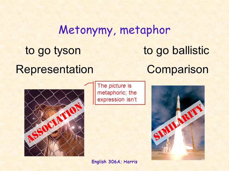 English 306A; Harris Metonymy, metaphor to go tysonto go ballistic Association Similarity ComparisonRepresentation The picture is metaphoric; the expr