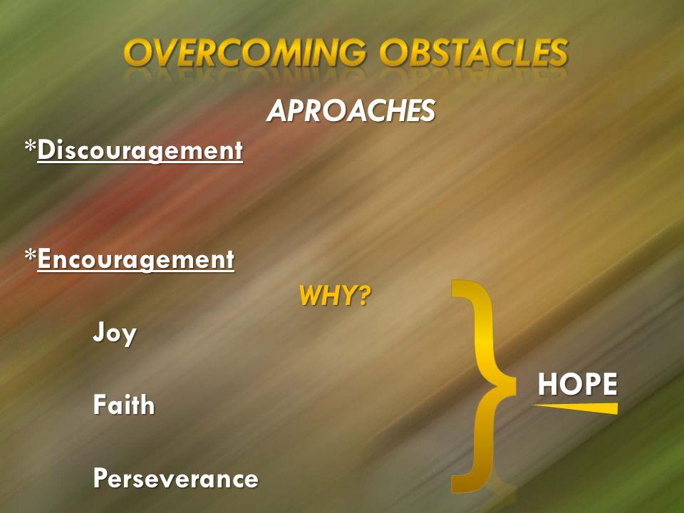 APROACHES *Discouragement *Encouragement WHY JoyFaithPerseverance HOPE