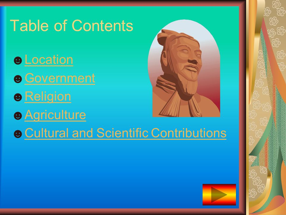 Table of Contents ☻LocationLocation ☻GovernmentGovernment ☻ReligionReligion ☻AgricultureAgriculture ☻Cultural and Scientific ContributionsCultural and