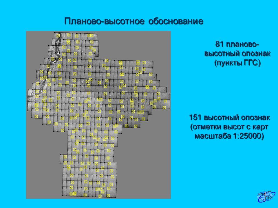 Планово-высотное обоснование 81 планово- высотный опознак (пункты ГГС) 151 высотный опознак (отметки высот с карт масштаба 1:25000)