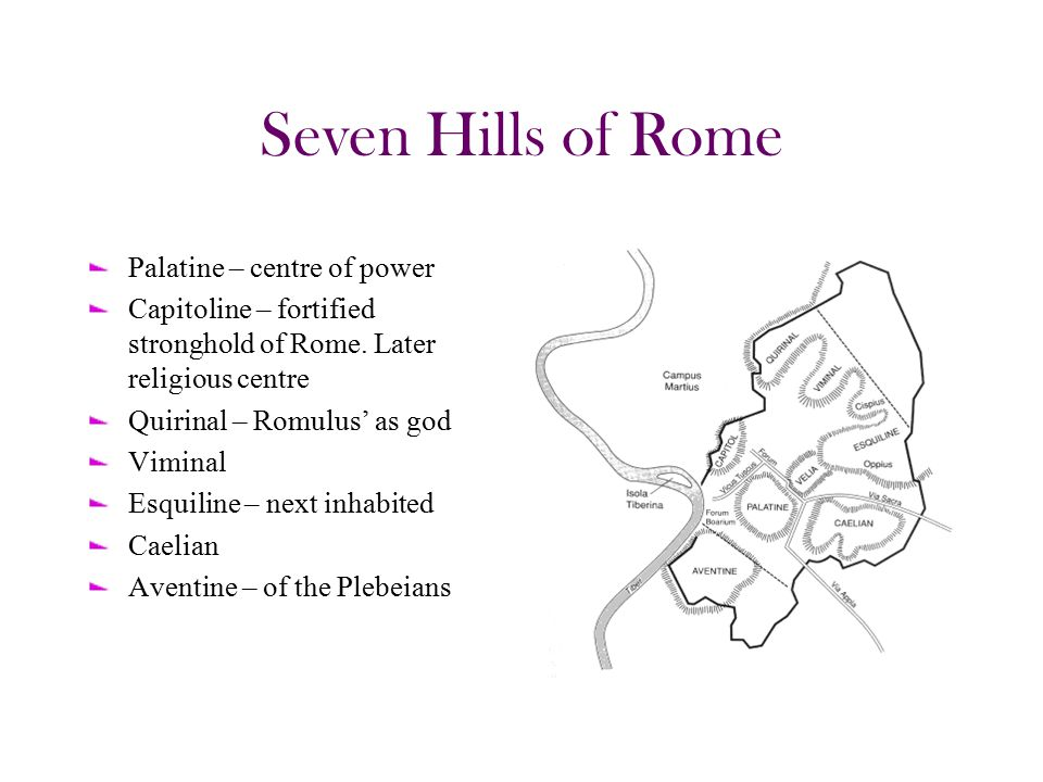 Seven Hills of Rome Palatine – centre of power Capitoline – fortified stronghold of Rome.