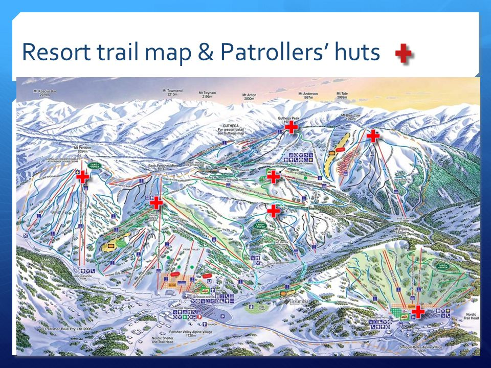 Resort trail map & Patrollers' huts