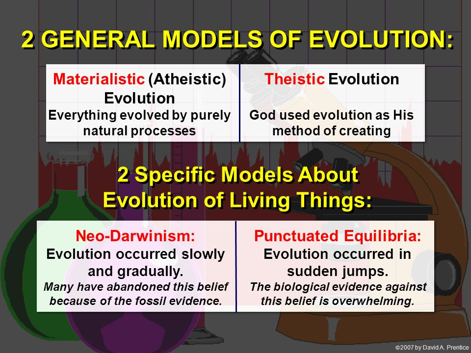  2007 by David A. Prentice 2 GENERAL MODELS OF EVOLUTION: Materialistic (Atheistic) Evolution Everything evolved by purely natural processes Theisti
