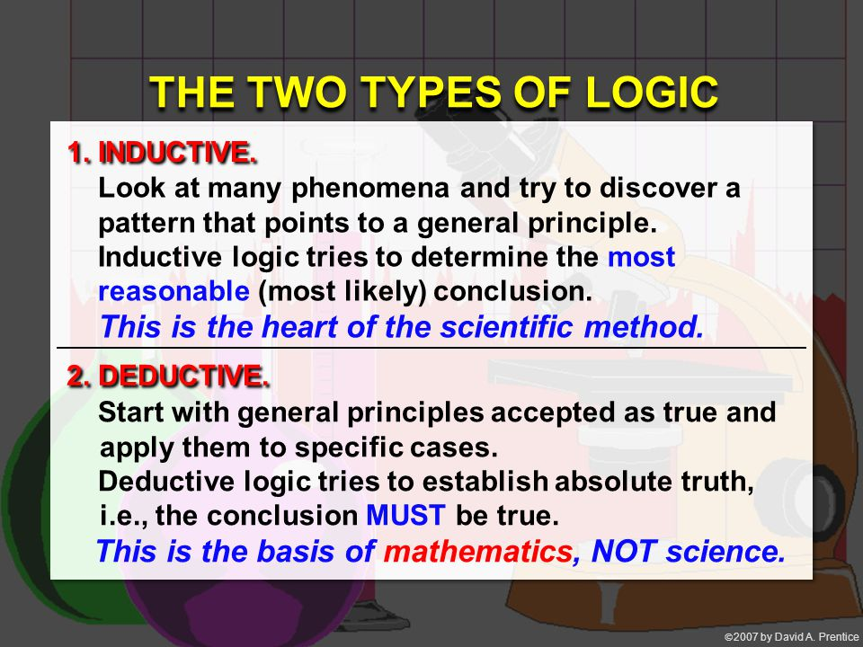  2007 by David A. Prentice 1. INDUCTIVE. 2. DEDUCTIVE. THE TWO TYPES OF LOGIC Look at many phenomena and try to discover a pattern that points to a