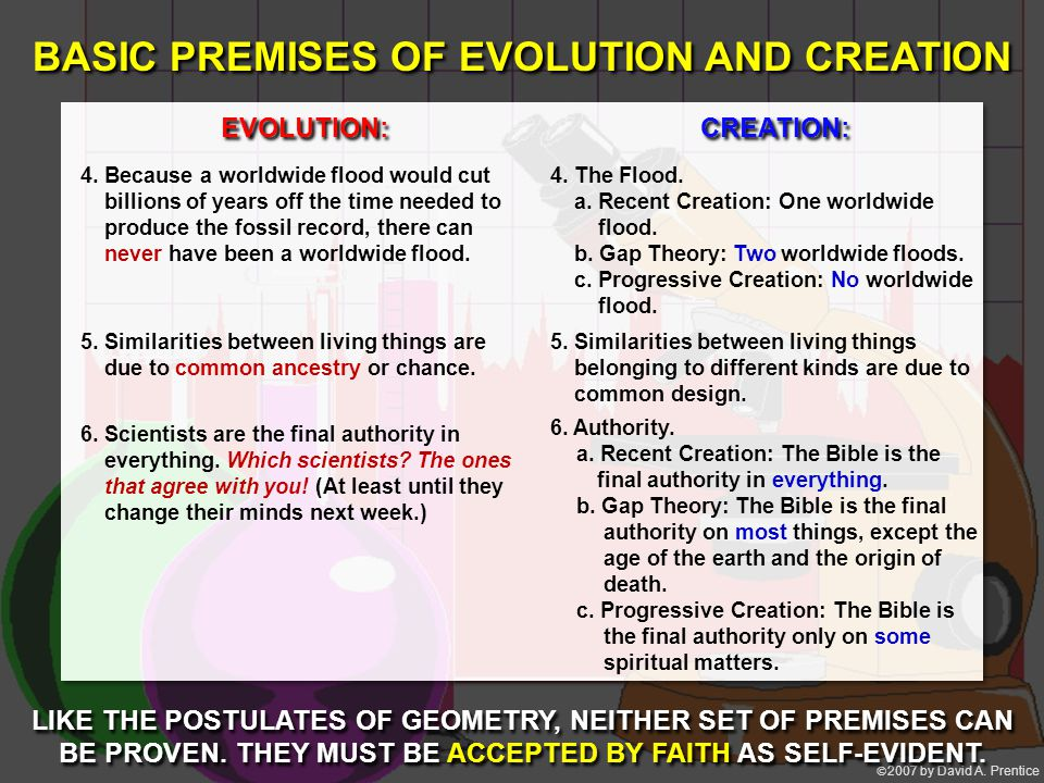  2007 by David A. Prentice BASIC PREMISES OF EVOLUTION AND CREATION LIKE THE POSTULATES OF GEOMETRY, NEITHER SET OF PREMISES CAN BE PROVEN. THEY MUS