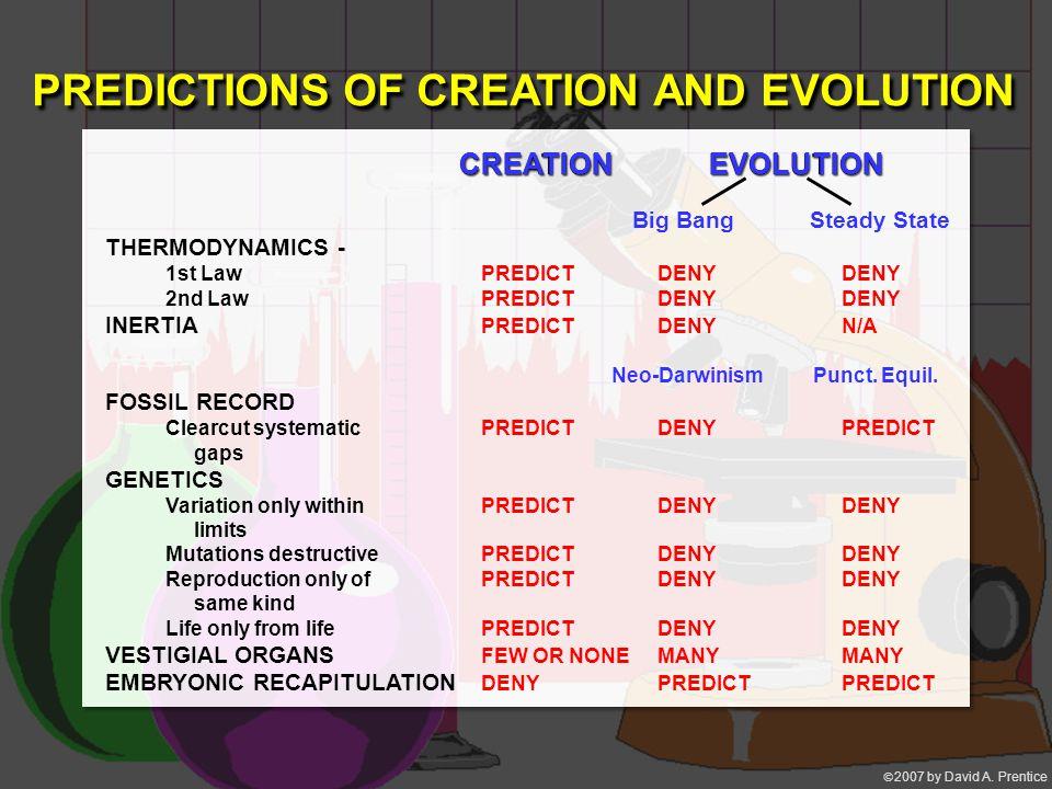  2007 by David A. Prentice Big Bang Steady State THERMODYNAMICS - 1st LawPREDICTDENYDENY 2nd LawPREDICTDENYDENY INERTIA PREDICTDENYN/A Neo-Darwinism