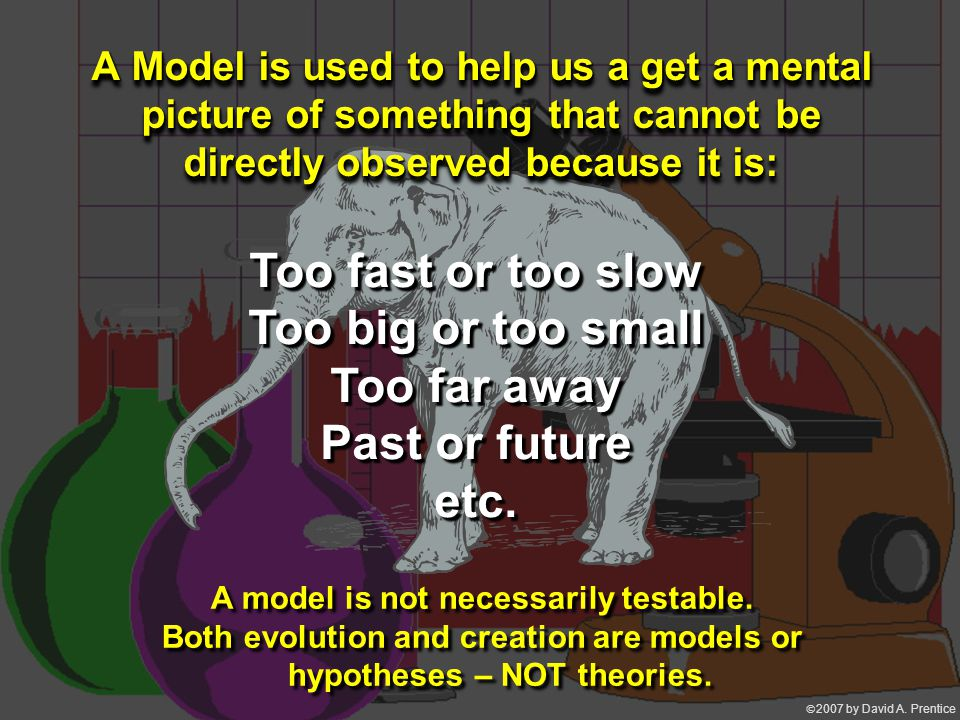  2007 by David A. Prentice A Model is used to help us a get a mental picture of something that cannot be directly observed because it is: A Model is