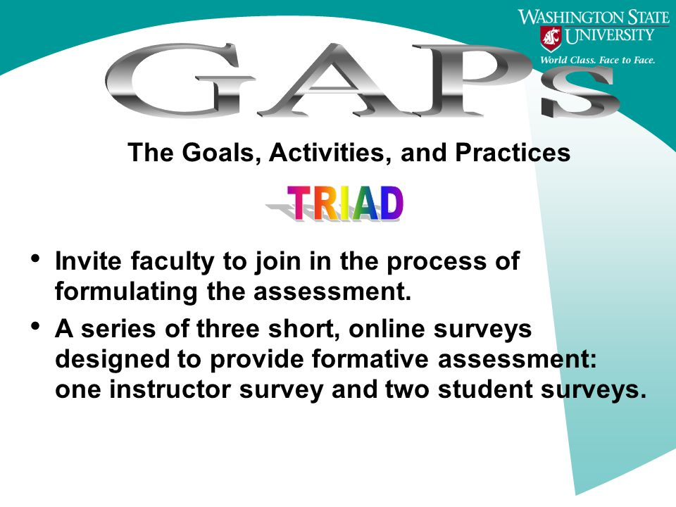 The Goals, Activities, and Practices Invite faculty to join in the process of formulating the assessment.