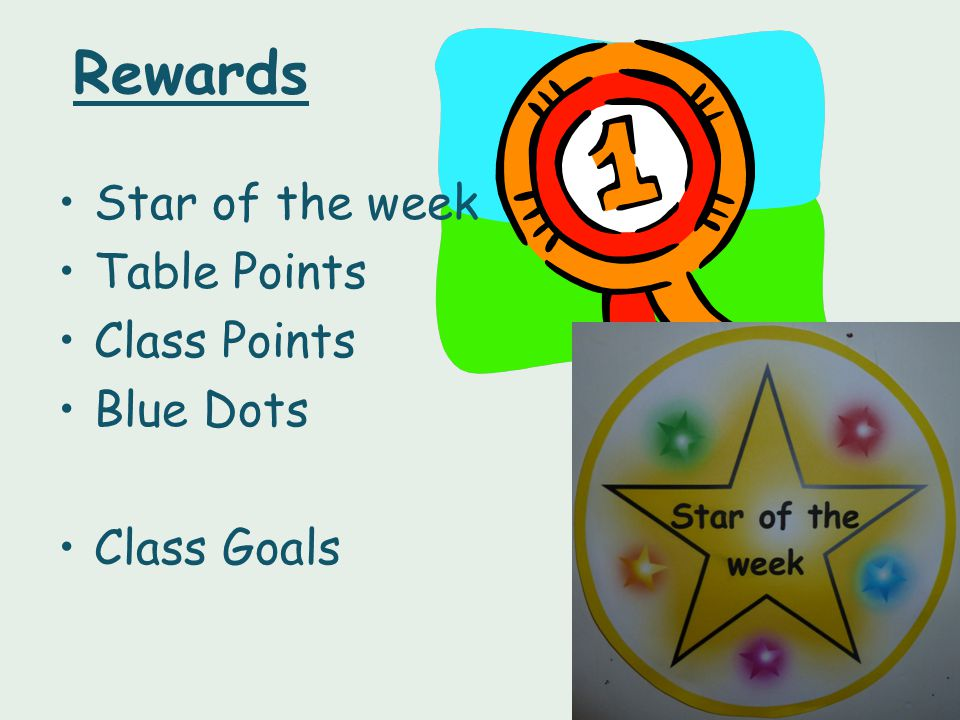 Rewards Star of the week Table Points Class Points Blue Dots Class Goals