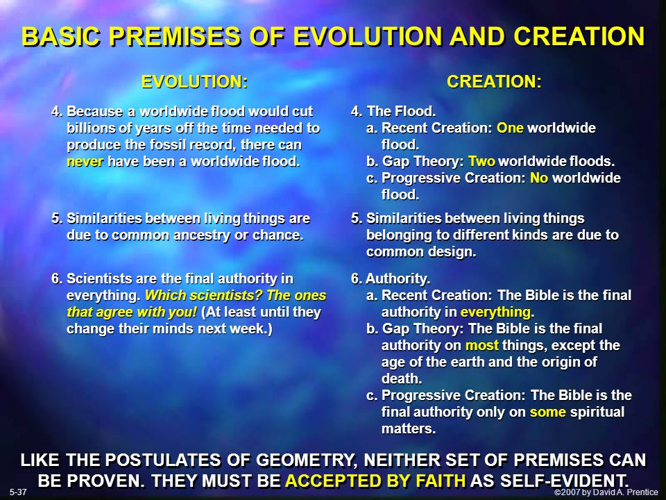  2007 by David A. Prentice BASIC PREMISES OF EVOLUTION AND CREATION EVOLUTION: 4.