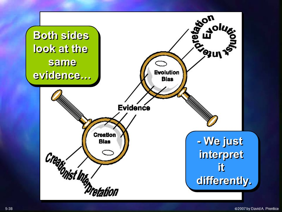  2007 by David A. Prentice Both sides look at the same evidence… - We just interpret it differently. Both sides look at the same evidence… - We just