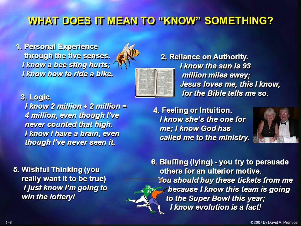  2007 by David A.Prentice BASIC PREMISES OF EVOLUTION AND CREATION EVOLUTION: 4.