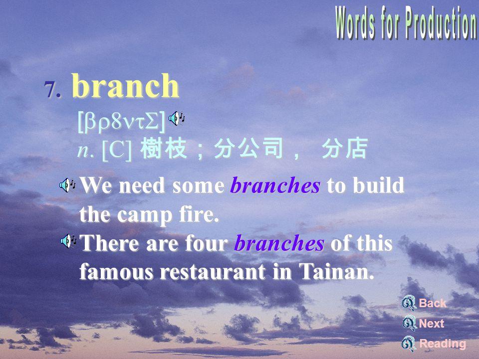 7. branch [br8ntS] [br8ntS] n. [C] 樹枝;分公司, 分店 n.