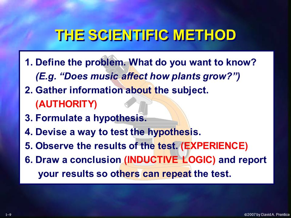 """ 2007 by David A. Prentice THE SCIENTIFIC METHOD 1. Define the problem. What do you want to know? (E.g. """"Does music affect how plants grow?"""") 2. Gat"""