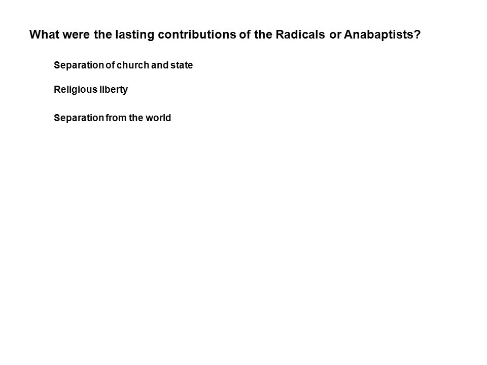 What were the lasting contributions of the Radicals or Anabaptists.