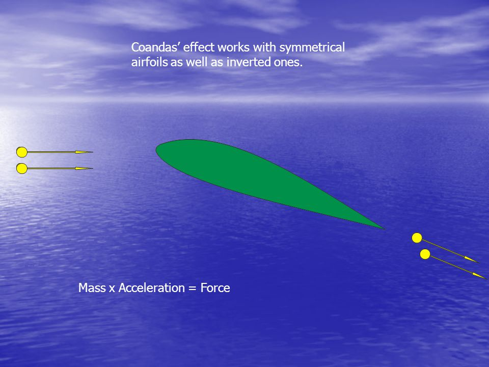 Coandas' effect works with inverted airfoils too. Mass x Acceleration = Force