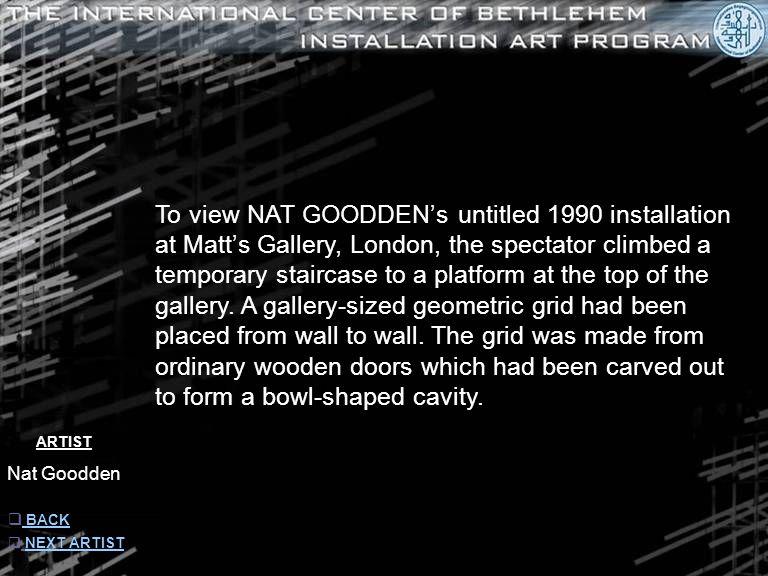 ARTIST Nat Goodden  INFORMATION INFORMATION  NEXT ARTIST NEXT ARTIST