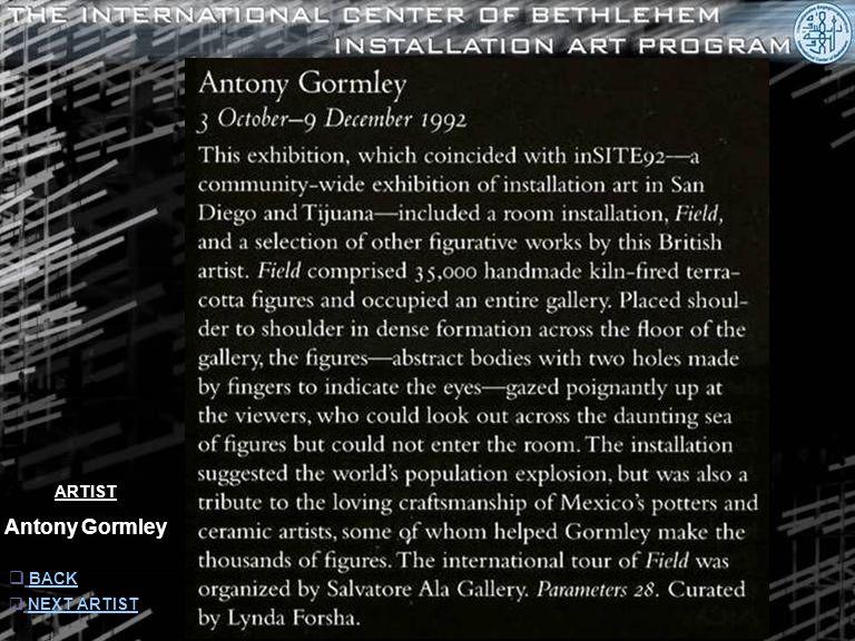 ARTIST Antony Gormley  INFORMATION INFORMATION  NEXT ARTISTNEXT ARTIST  BACK BACK