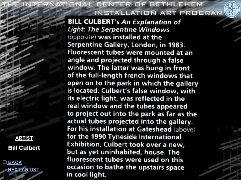ARTIST Bill Culbert  INFORMATION INFORMATION  NEXT ARTISTNEXT ARTIST