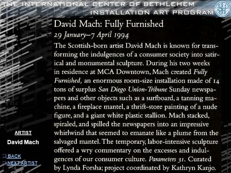 ARTIST David Mach  INFORMATION INFORMATION  NEXT ARTISTNEXT ARTIST  BACKBACK