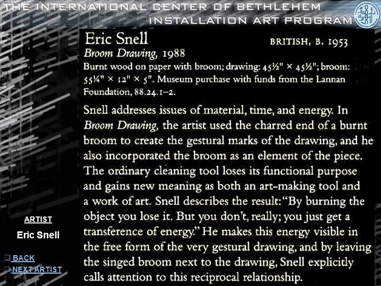 ARTIST Eric Snell  INFORMATION INFORMATION  NEXT ARTISTNEXT ARTIST