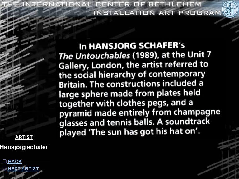 ARTIST Hansjorg schafer  INFORMATION INFORMATION  NEXT ARTISTNEXT ARTIST